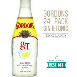 Picture of GORDONS GIN & TONIC 250ML BOTTLES 24 PACK