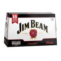Picture of JIM BEAM AND COLA WHITE 330ML BOTTLES 10-PACK