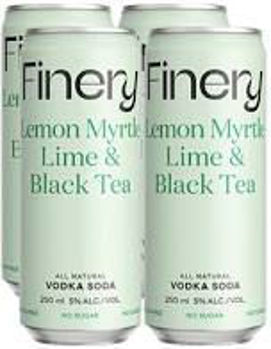 Picture of Finery Sugar Free Lemon Myrtle Lime & Black Tea  250ml cans 24-PACK CLEARANCE SHORT DATED